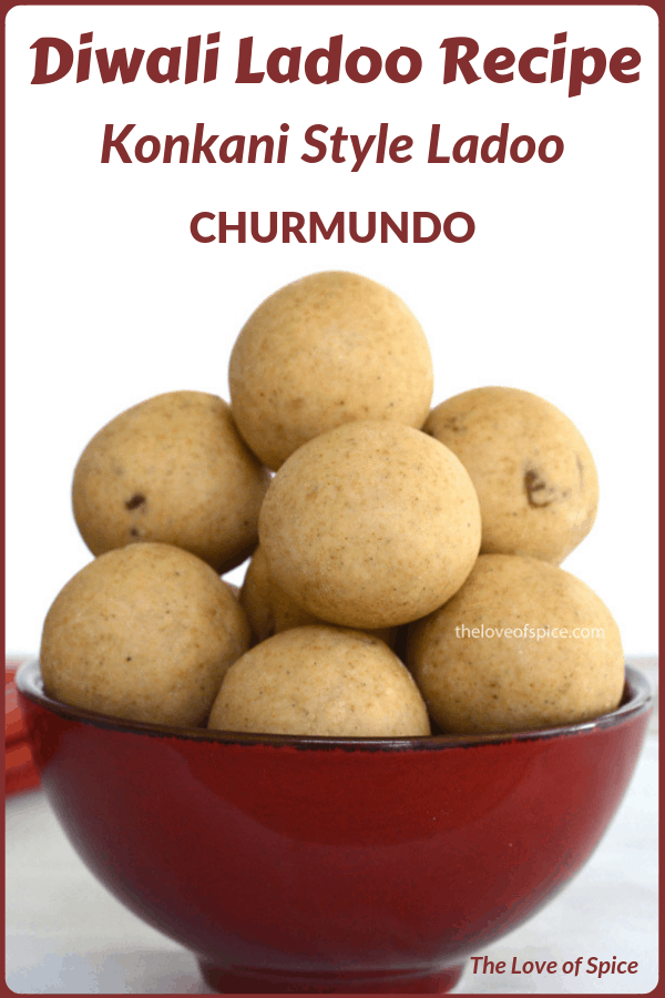 churmundo ladoo stacked in red bowl