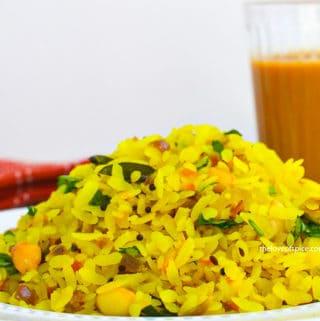 kanda poha with tea