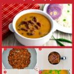 bowl of rajma masala, along with step by step photos of making rajma curry