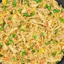 indian chicken fried rice in a wok