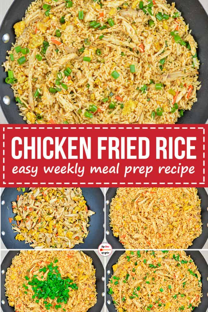 step by step photos of making chicken fried rice, along with image of ready dish on the top
