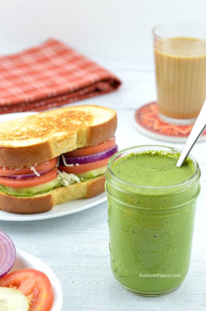 mumbai sandwich with green chutney and tea