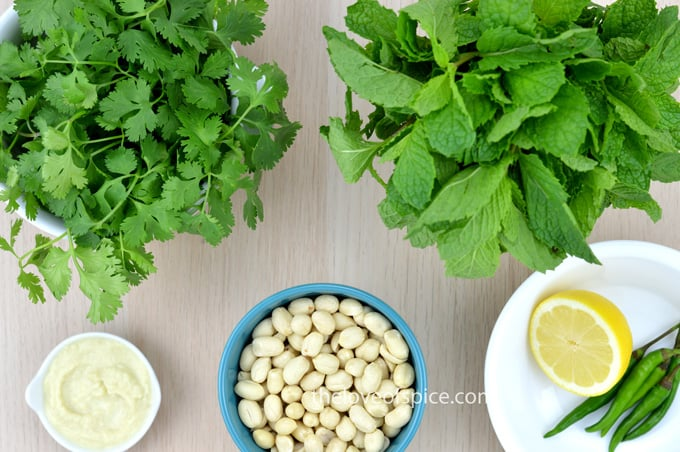 coriander leaves, mint leaves, peanuts, slice of lemon, few green chilies and some garlic paste set on a table.