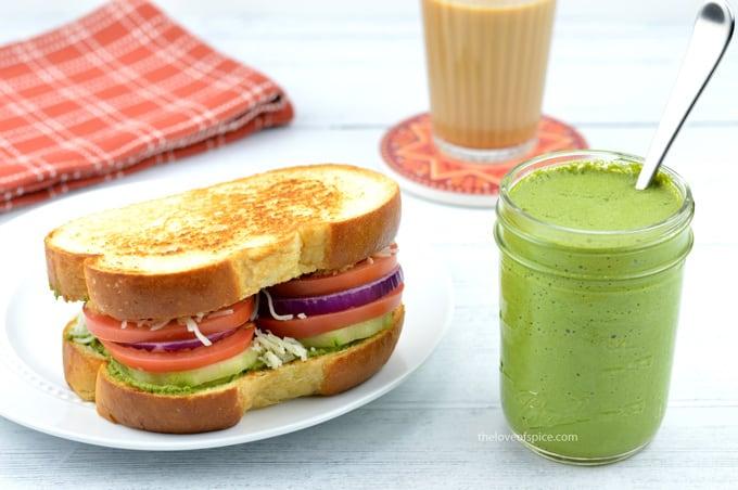 Mumbai street style sandwich with green chutney and tea