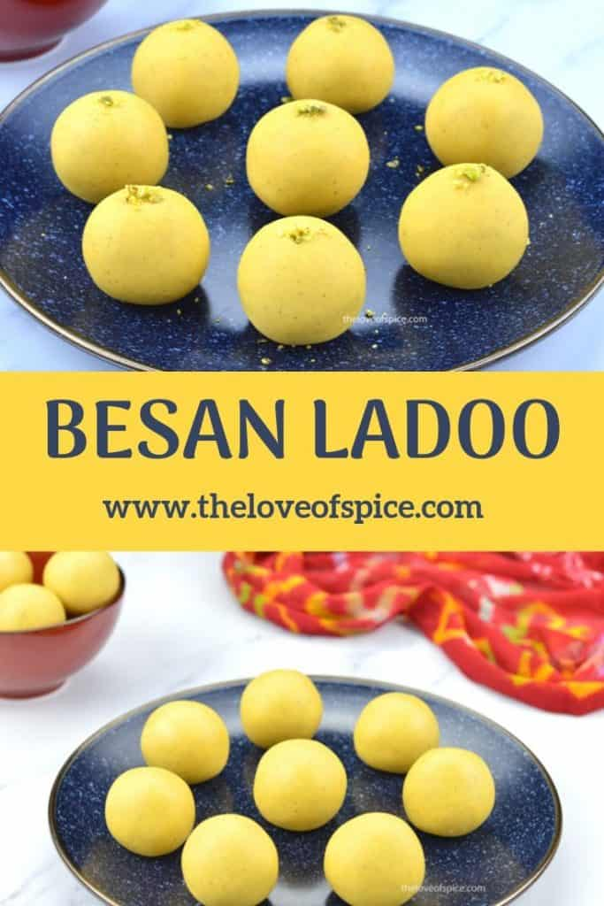 2 plates full of besan ladoos for diwali