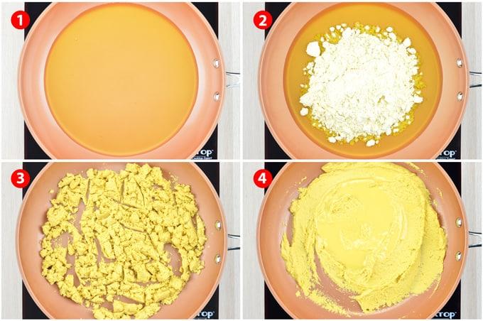 besan ladoo recipe step by step images - roasting besan flour in ghee