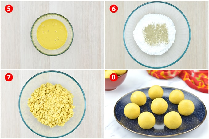 step by step photos of making besan ke laddu - adding powdered sugar to roasted besan paste to make dough for ladoos, and then forming ladoos
