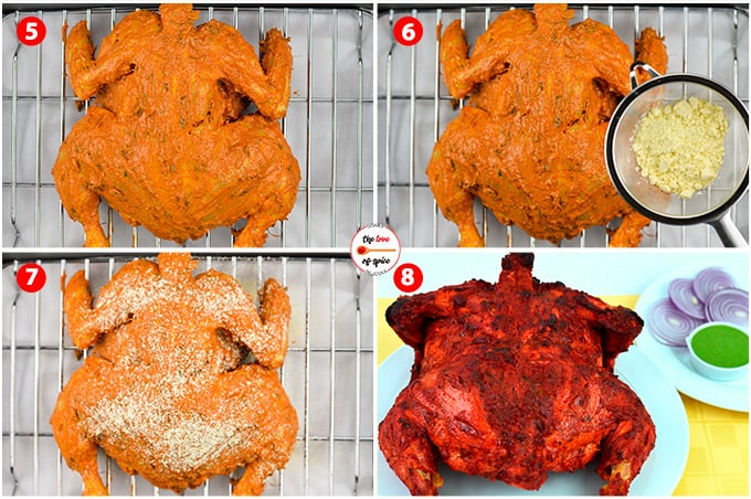 whole chicken tandoori step by step by step images of getting the chicken ready to go into the oven