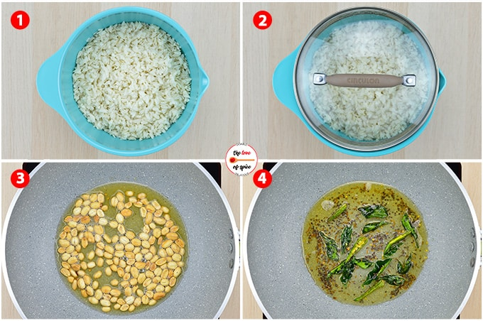poha recipe step photos - setting aside rinsed & drained poha, roasting peanuts, and adding tempering