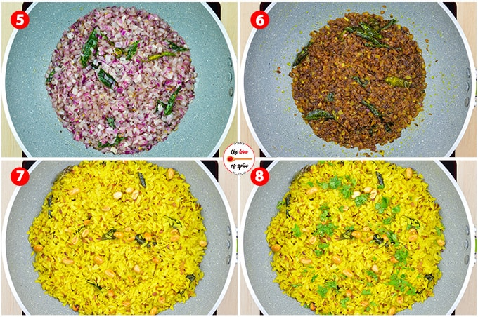 poha recipe step photos - browning the onions, adding the poha that was set aside earlier & mixing it in with all the flavorings.