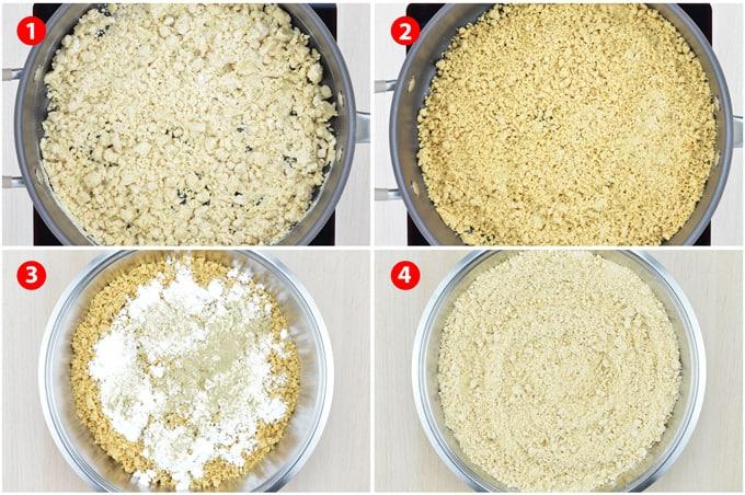 step by step photos of making churmundo - from roasting atta and maida flour, then adding powdered sugar & elaichi