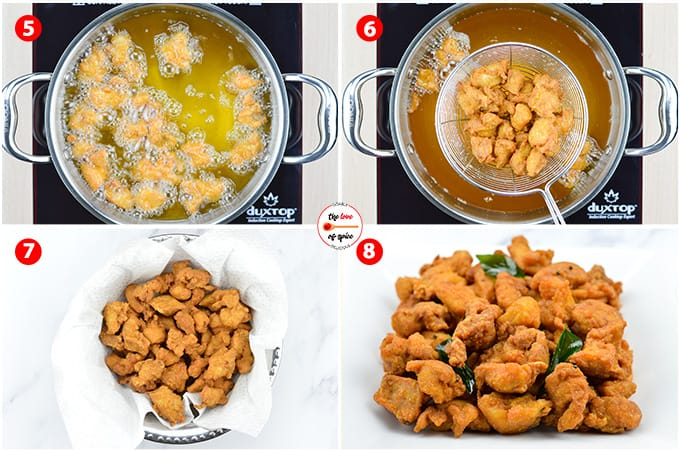 step by step photos of making chicken 65 - deep frying the marinated chicken cubes in oil & tempering it with mustard seeds, curry leaves & red chillies