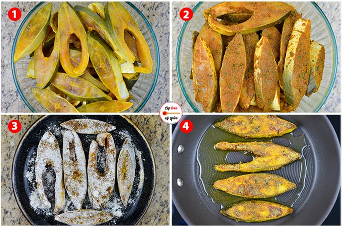 step by step photos of making indian style pomfret fish fry - coating the fish pieces with spice rub,