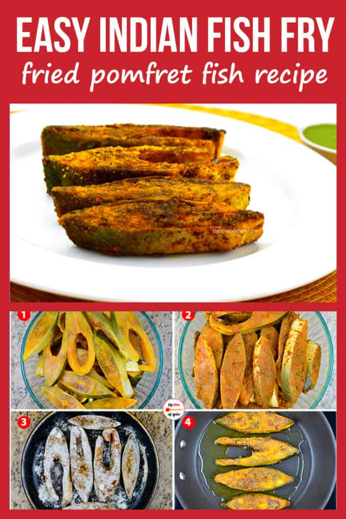 step by step photos of making pomfret fry, along with a plate of fried pomfret pieces
