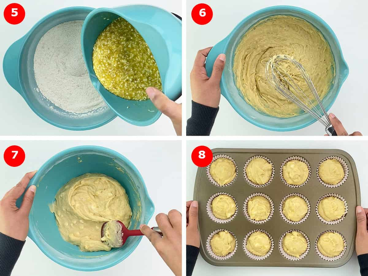 final step photos of making the muffin batter and then pouring it in the muffin tray to go into the oven