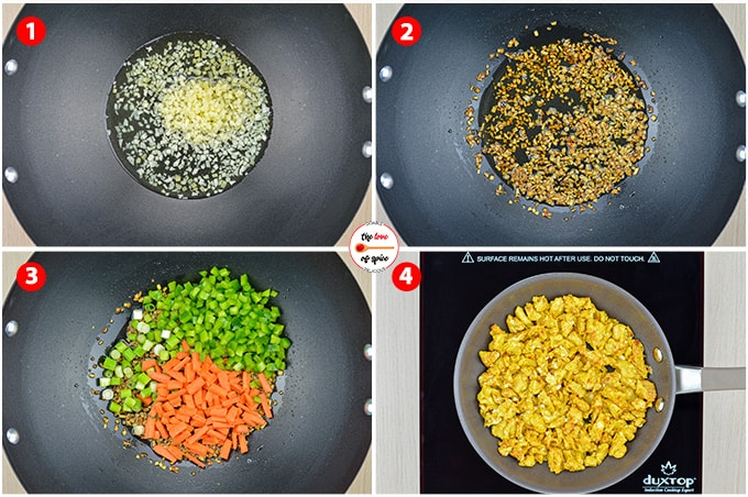 step by step photos of making chicken fried rice - roasting ginger garlic, veggies, and scrambling eggs to add to the wok