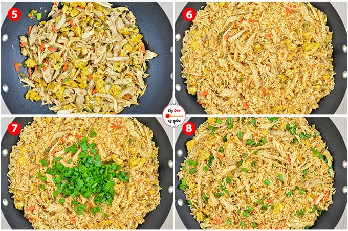 step by step photos of making chicken fried rice - adding shredded chicken, scrambled eggs, rice, and sauces, mixing it all together to make fried rice