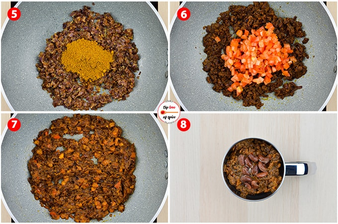 step by step photos of making rajma masala - from making the onion tomato spice base to pureeing the onion tomato base with a few boiled rajma beans