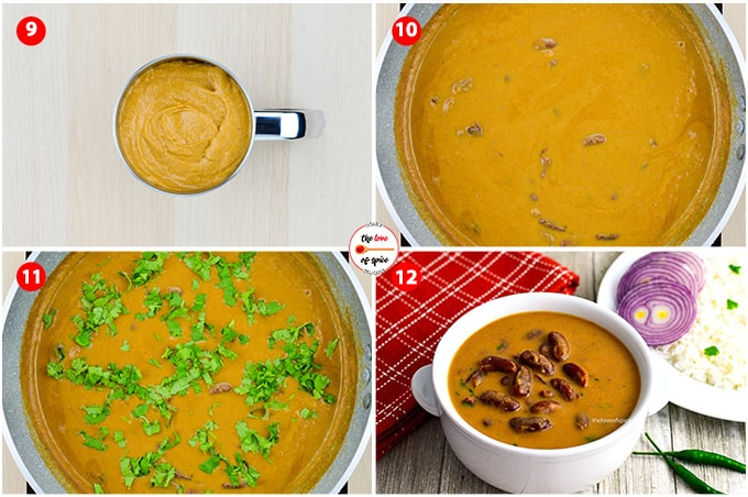step by step photos of making rajma masala - from mixing together the puree base and boiled rajma beans in a pan, and simmering the curry on low flame to make rajma masala