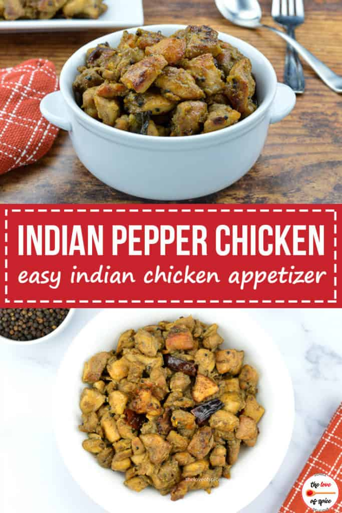 a collage of 2 images, one with indian style pepper chicken in a bowl, and the other with the pepper chicken served in a plate