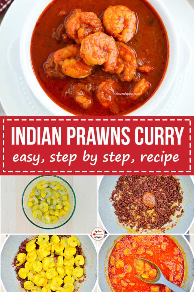 step by step photos of making indian prawns curry, with a bowl of the finished prawns curry at the top