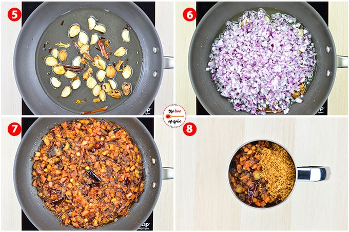 step by step photos of making misal by roasting whole garam spices, garlic, chillies, onions, and dry coconut powder