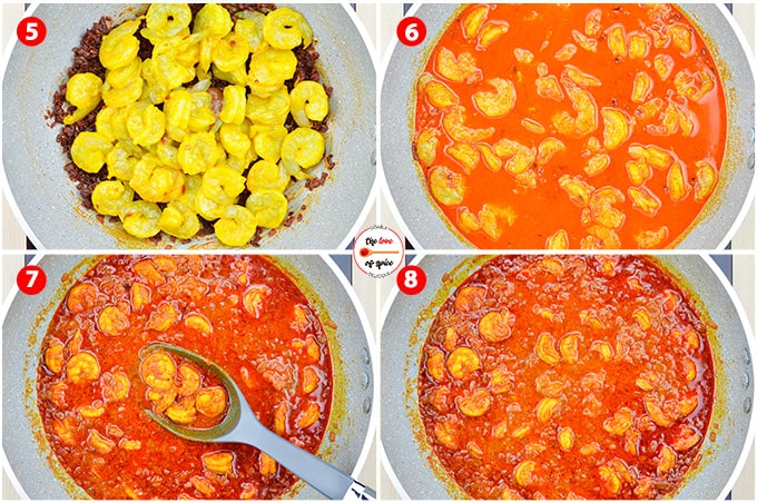 step by step photos of making mangalorean style prawns curry - adding prawns & water to the browned onions, and cooking for 30 mins to make curry