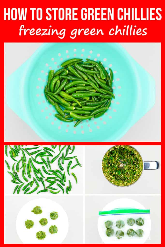 step by step photos of freezing green chillies paste