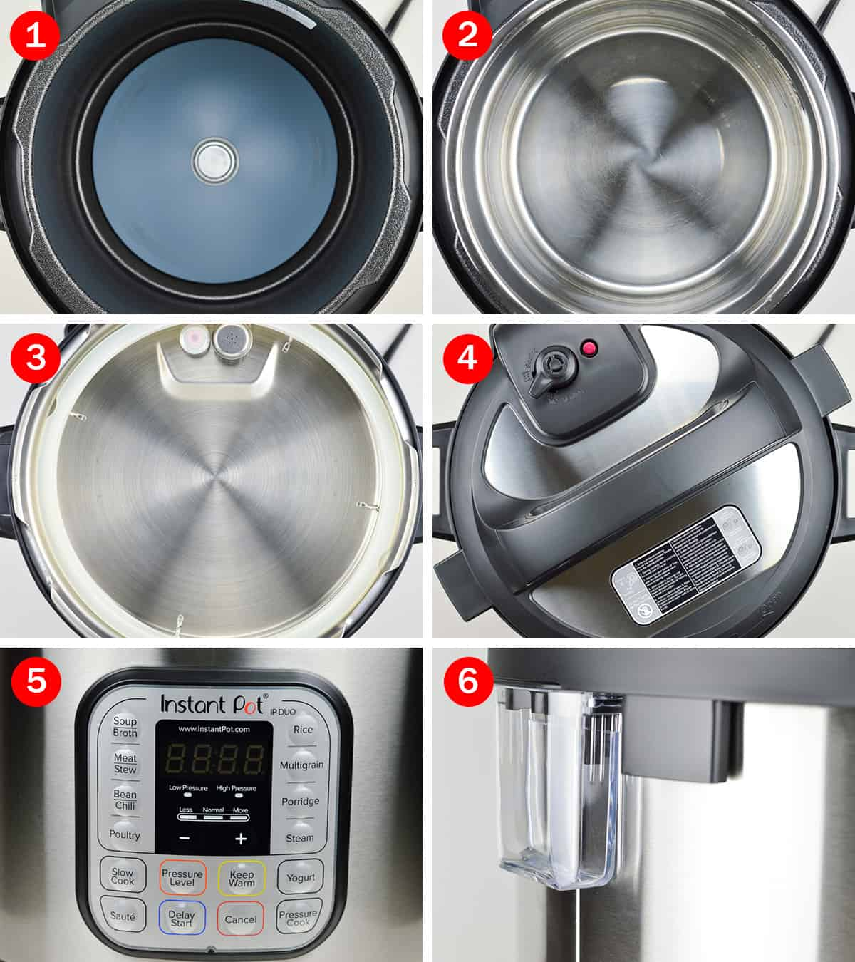 photos of instant pot parts - exterior pot, inner pot, lid, sealing ring, valve, display panel, and condensation collector
