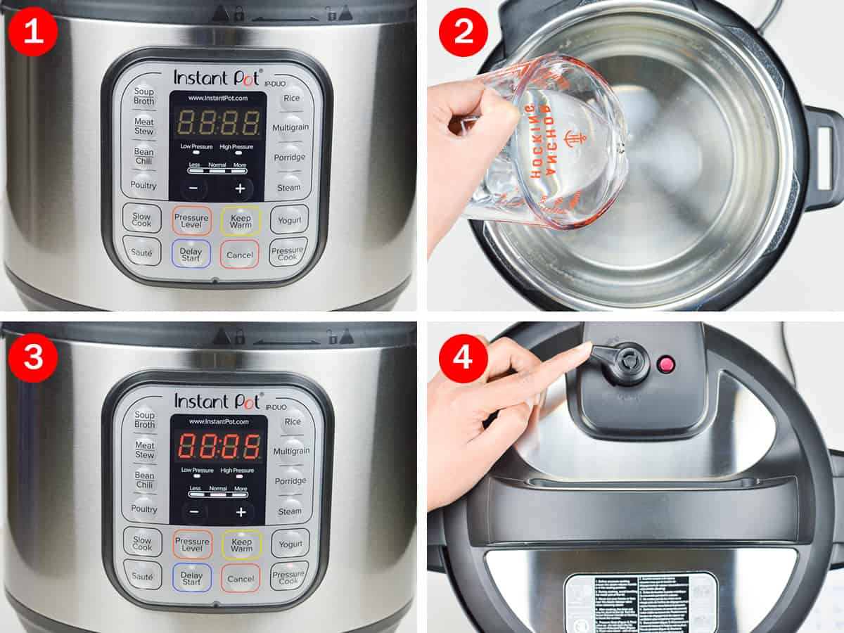 step by step photos of instant pot water test - from pouring water into the inner pot, to setting timer, and closing the lid with valve pointing to sealing