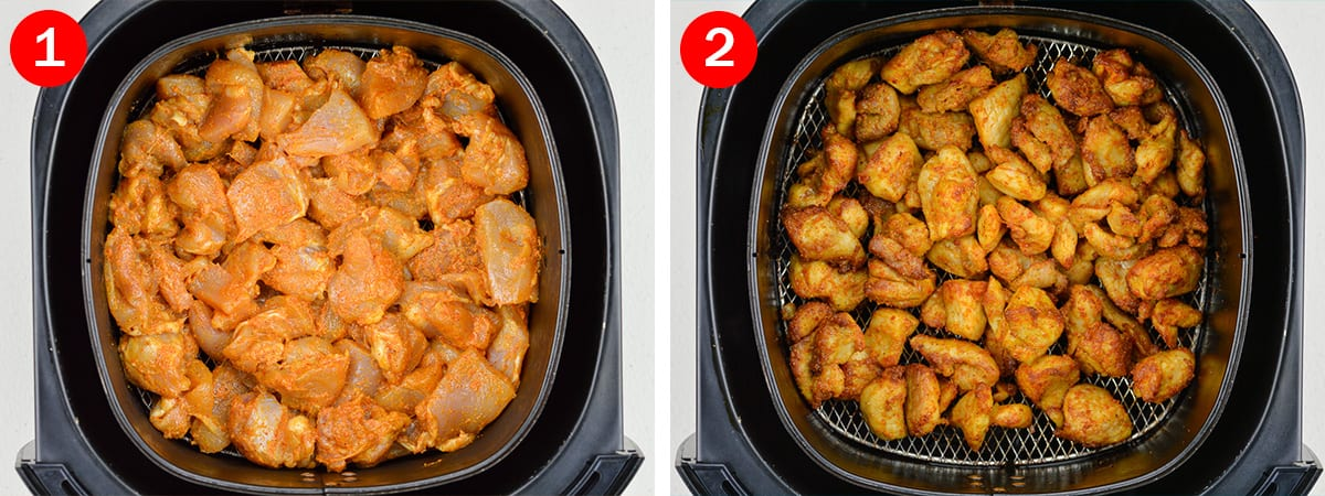 side by side before and after shots of air frying chicken bites in the Philips air fryer basket