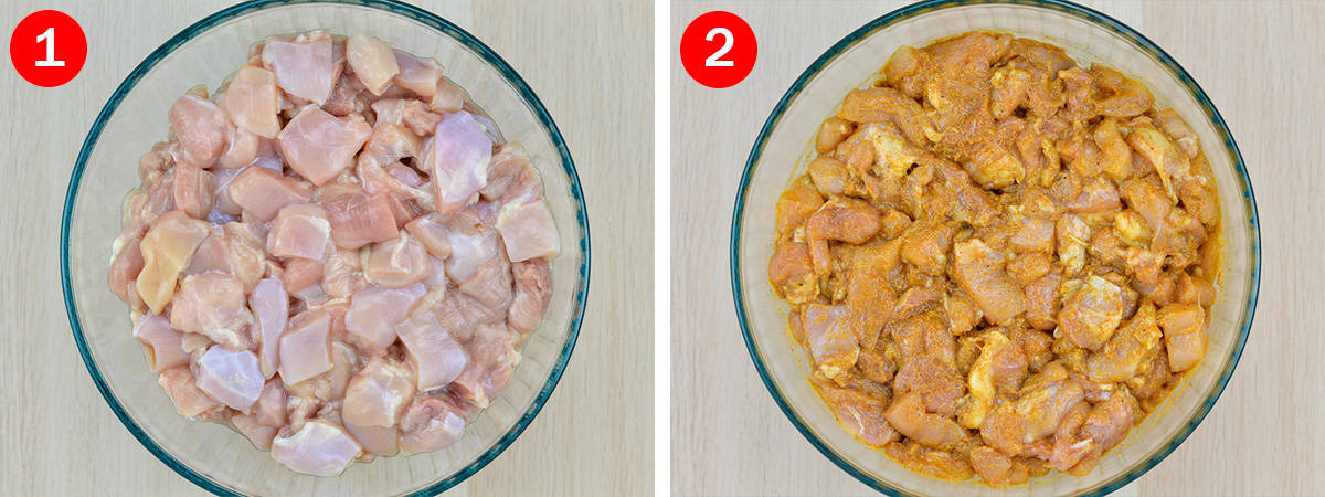 side by side shots of cleaned and cut chicken cubes in a glass bowl, and marinated chicken cubes in the same glass bowl
