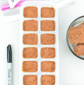 frozen onion tomato masala paste in an ice cube tray, with some frozen masala paste cubes in a bowl on one side, and a marker pen & ziplock bag on the other side