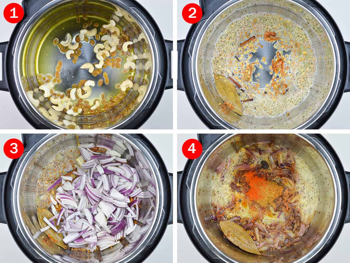 step by step photos of making chicken biryani in instant pot - by first roasting nuts, then whole spices, ginger garlic paste, onions, and indian spice powders