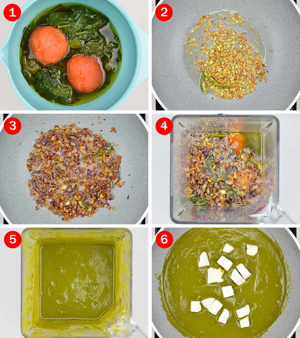 step by step photos of making healthy home style palak paneer