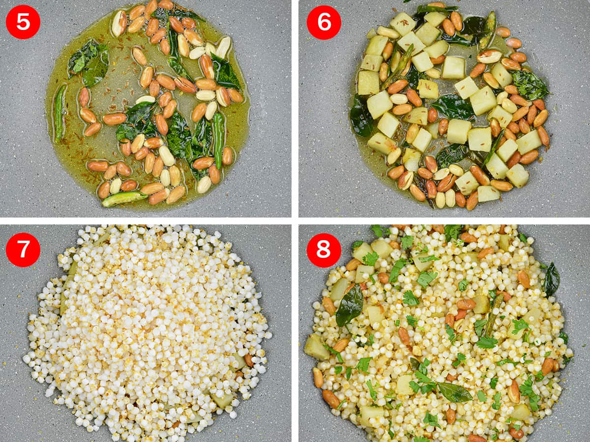 step by step photos of making sabudana khichdi - by first roasting the cumin seeds, curry leaves, green chillies in ghee, then the peanuts and potatoes, and finally the sabudana with salt and sugar.