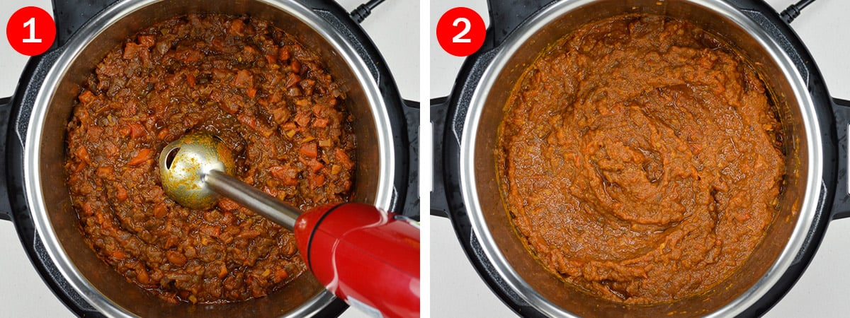 2 side by side photos of bhuna masala curry sauce base in instant pot - one with a hand blender in it, and one showing the masala after blending