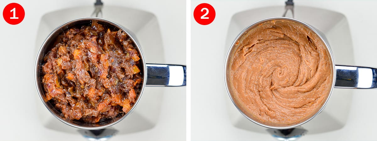 2 side by side photos of indian onion tomato masala base in a mixer jar, before and after grinding