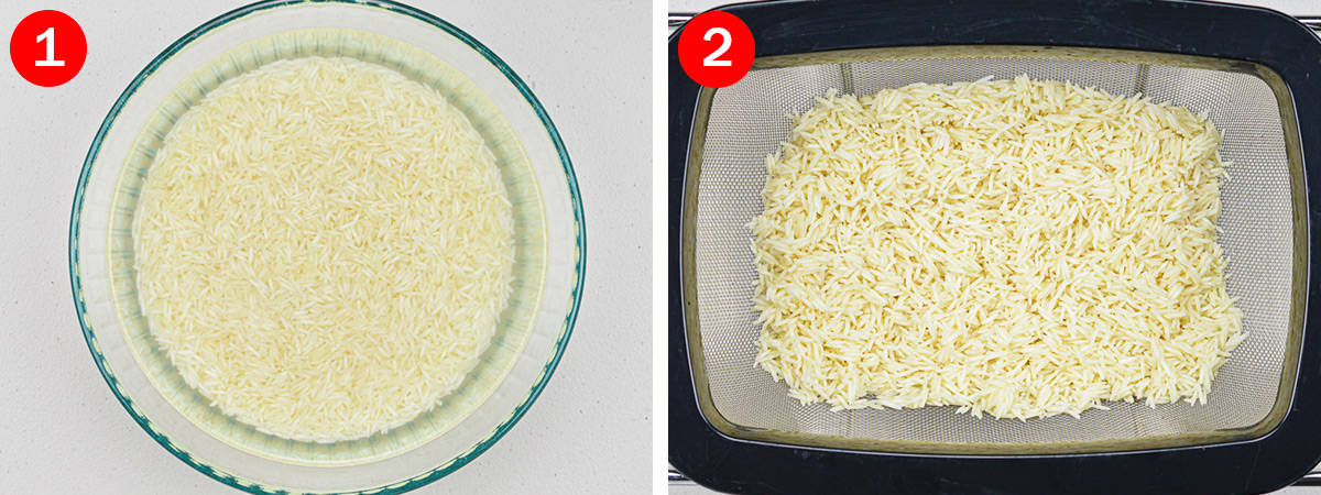 side by side shots of prepping rice for biryani, by first soaking it, and then draining it