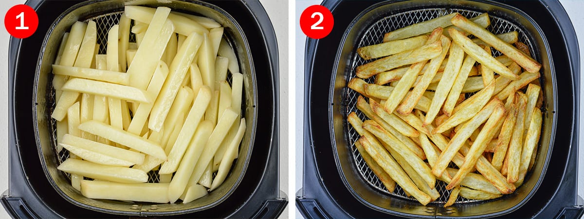 side by side before and after shots of air frying french fries in the Philips air fryer basket