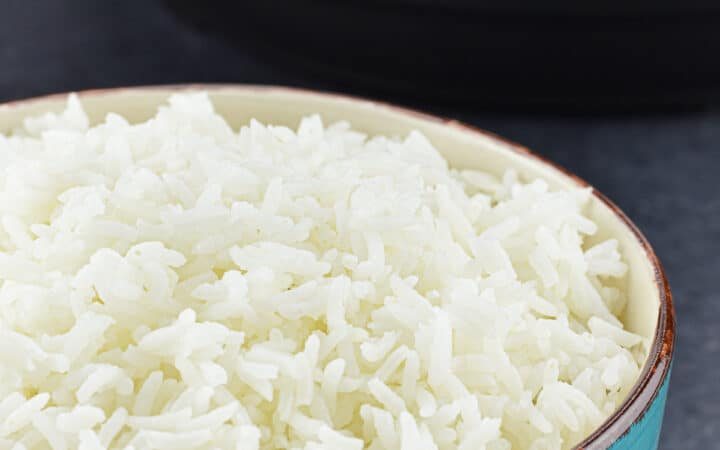 a bowl of soft and fluffy white rice, with an instant pot duo nova in the background