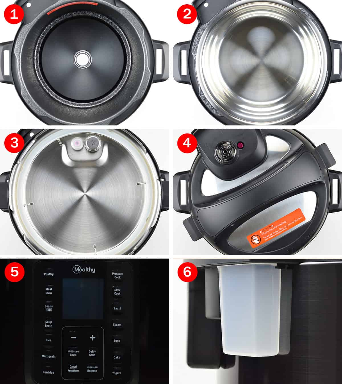 collage of the different parts and components of the mealthy multipot base unit - exterior pot, inner pot, inner and outer part of the lid, the display panel, and the condensation collector
