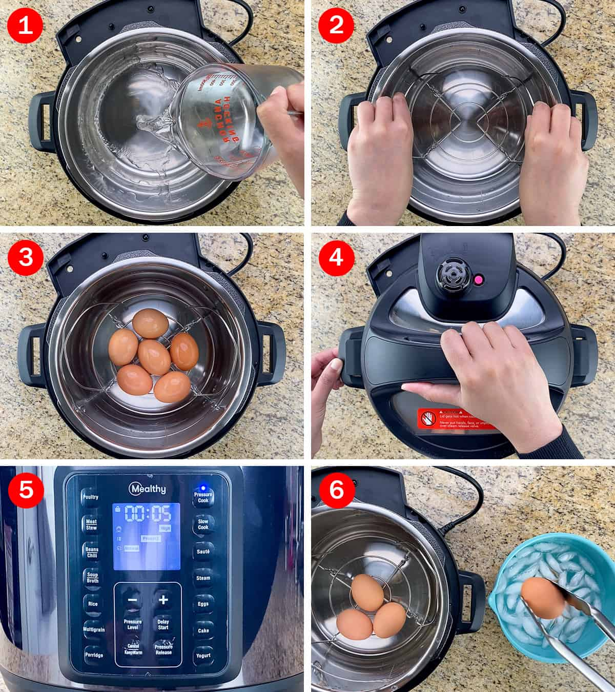 step by step photos of hard boiling eggs in the mealthy multipot