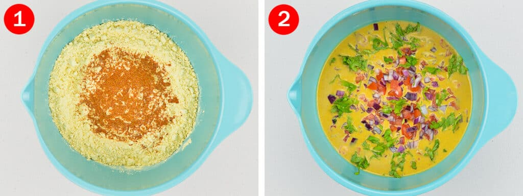 side by side shots of making besan chilla batter
