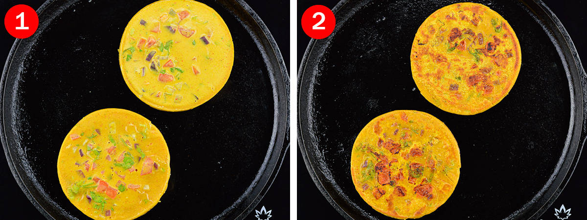 side by side before and after shots of frying besan chilla on the pan