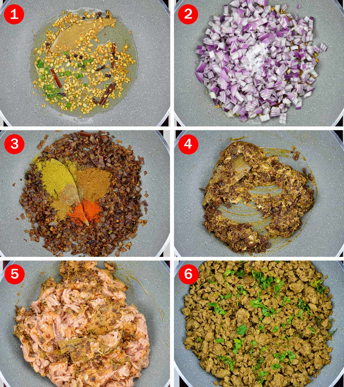 step by step photos of making chicken keema curry from chicken mince
