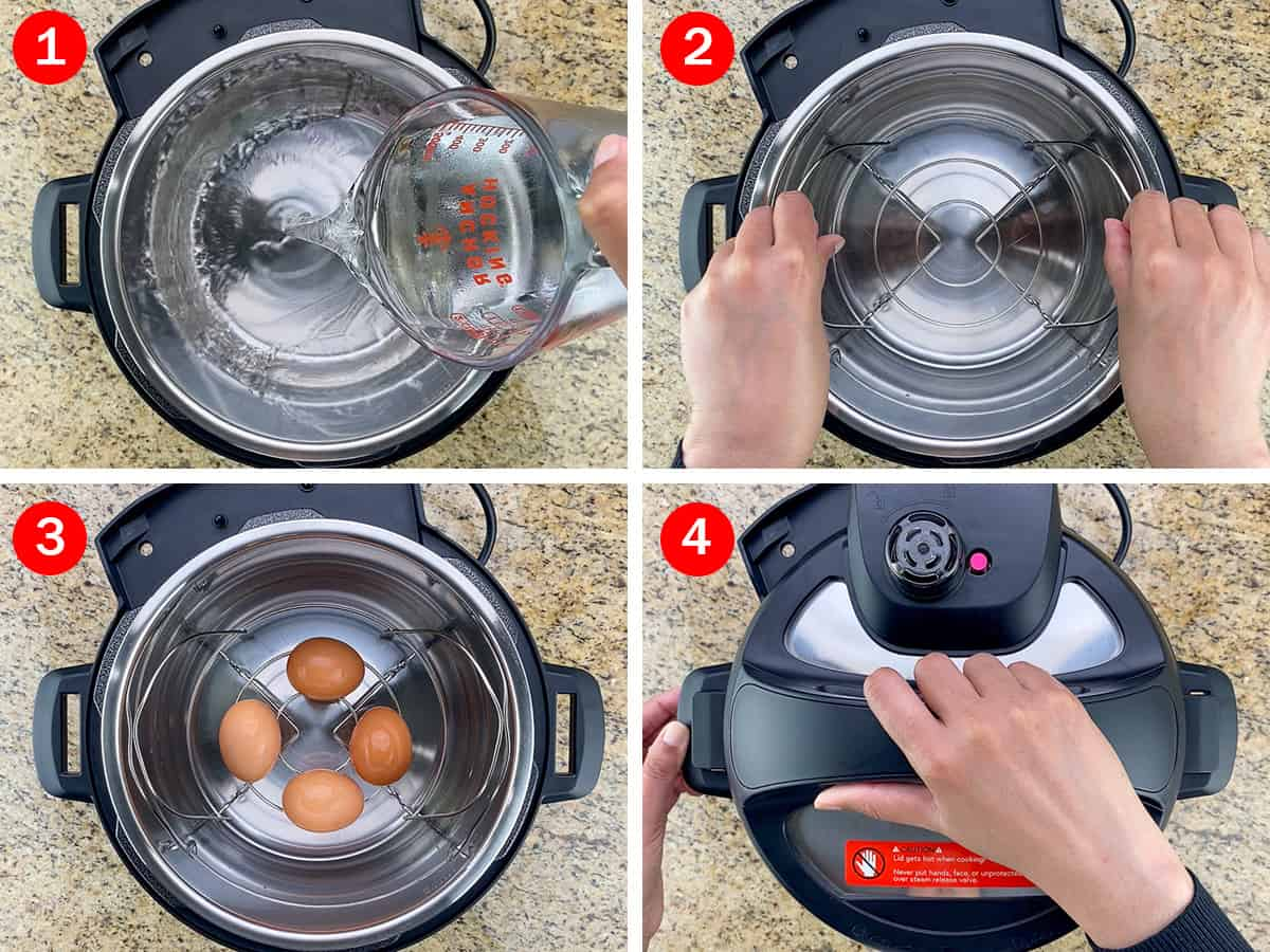 step by step photos of making soft boiled eggs in the mealthy multipot