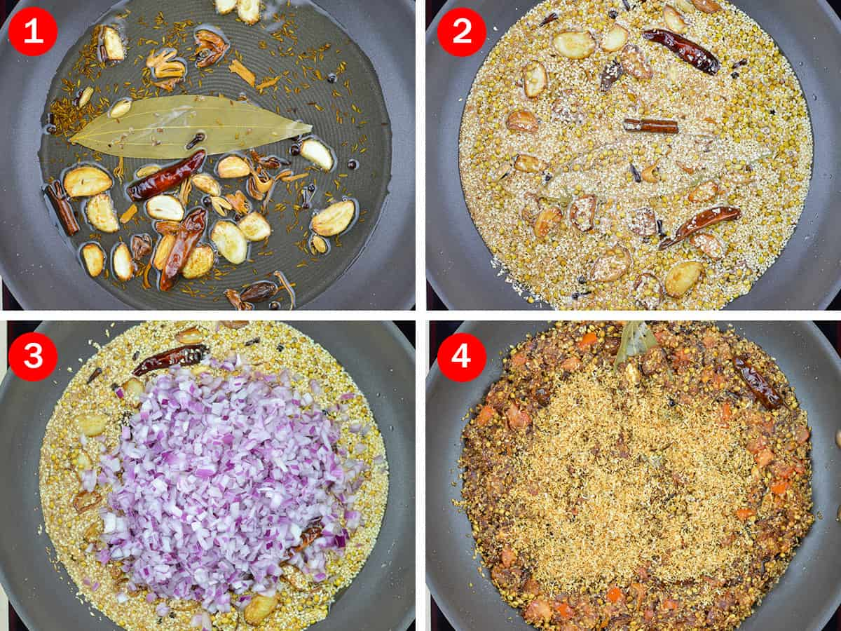 step by step photos of roasting whole kolhapuri spices, onion, tomatoes, and dry coconut powder