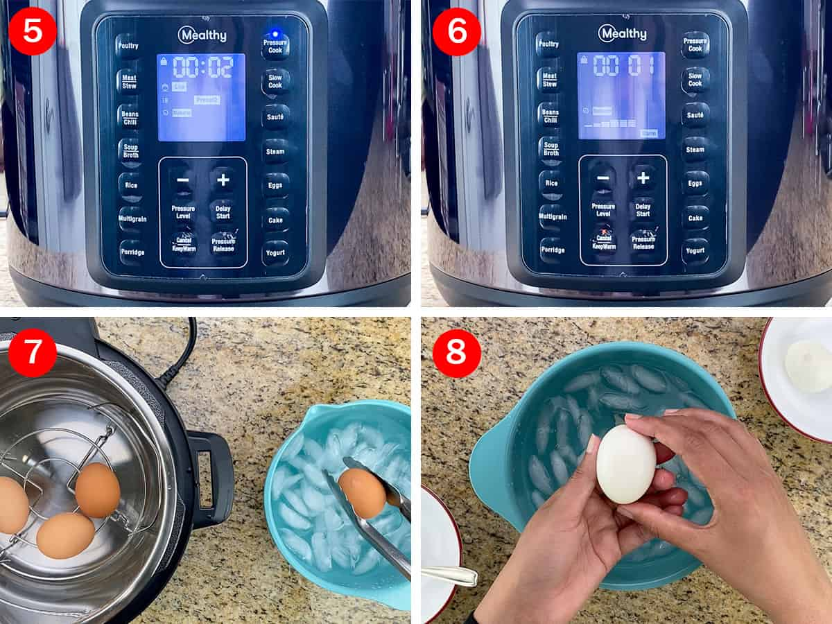 step by step photos that show the settings and time to make soft boiled eggs in the multipot, that are easy to peel