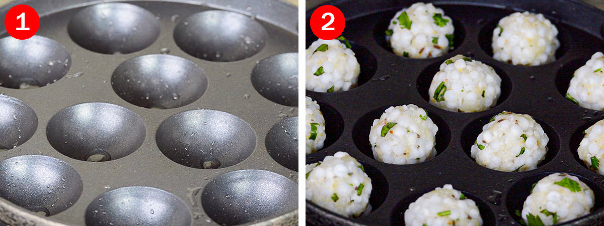 side by side shots of an empty greased appe pan and uncooked vadas placed in the appe pan